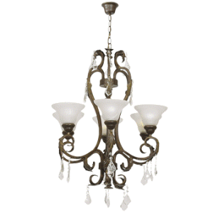 Metal and Resin Chandelier with Crystals