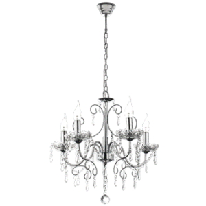 Polished Chrome Chandelier with Crystals
